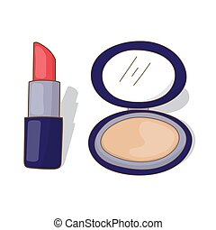 lipstick and face powder