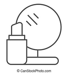 Lipstick and mirror thin line icon. Makeup vector illustration isolated on white. Cosmetics outline style design, designed for web and app. Eps 10.