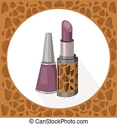 Lipstick and nail polish lavender color collection icons ...
