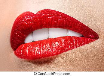 lipstick., boca abre, rojo, sensual