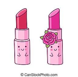 Lipstick. Cartoon character with cute face.