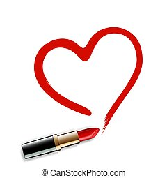 lipstick., coeur, rouges, dessiné