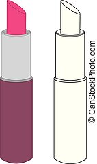 Lipstick. Coloring page. Vector illustration.