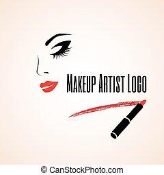 lipstick., donna, traccia, artista, astratto, trucco, faccia...