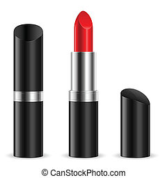 Lipstick - Black lipstick closed and open. Illustration on...