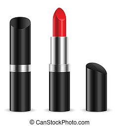 Lipstick - Black lipstick closed and open. Illustration on...