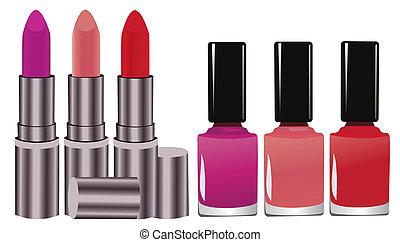 Lipstick  - Vector illustration of lipstick and nail polish