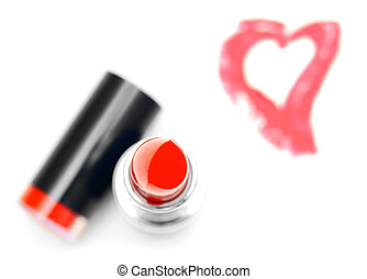 Lipstick, heart. On a white background.