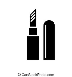 lipstick icon, vector illustration, black sign on isolated background