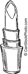 lipstick - hand drawn, sketch, cartoon illustration of...