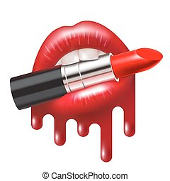 Lipstick in Mouth - Red lipstick in the open mouth with...