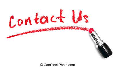 """lipstick., inscripción, """"contact, us"""""""