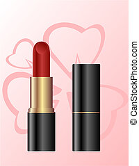 Lipstick isolated on a pink background