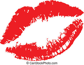 Lipstick kiss on white