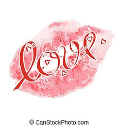 Lipstick kiss signs,with lettering  love and red small hearts. Vector realistic lipstick kiss