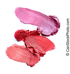 lipstick make up beauty smudged - close up of a smudged...