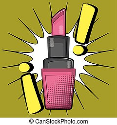 Lipstick on a comic background with a exclamation marks. Pop art - Vector