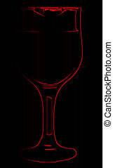 Lipstick On Red Outline Wine Glass