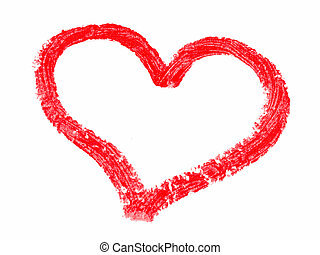 Lipstick painted hearts - Lipstick painted heart isolated on...