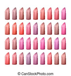 Lipstick Palette Vector. Different Colors Of Red And Pink. Glossy Lipstick For Woman Lips Make Up. Isolated Illustration