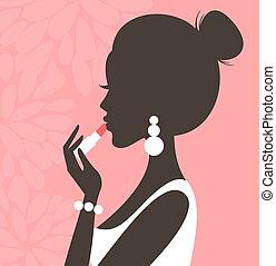 Illustration of a young beautiful woman applying lipstick.