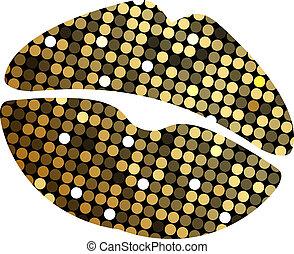 lipstick print with disco lights