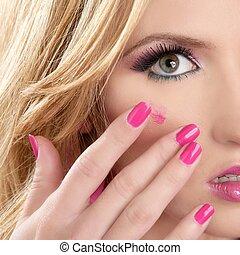 lipstick red on makeup skin blonde macro closeup model pink ...