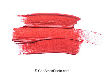 Lipstick smear isolated on white background. Red lip makeup product swatch.