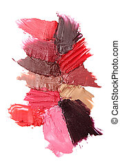 Lipstick strokes on white background