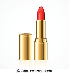 lipstick., vettore, rosso