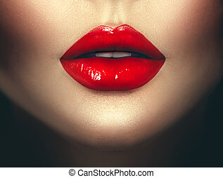 lipstick., vrouw, kunst, glamour, lippen, mode ontwerp, sexy, rood