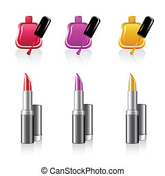 lipstick with nail polish - illustration of lipstick with...
