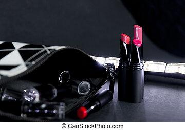 lipsticks., fason, profesjonalny, beauty., czarnoskóry, do góry, makijaż, ustalać, colorful., torba, komplet, bokeh, zatracony, tło., biały