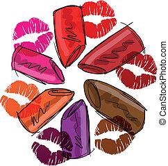 lipsticks., rys, wektor, ilustracja