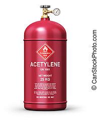 liquefatto, acetilene, industriale, gas, contenitore