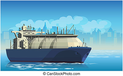 Liquefied Natural Gas Tanker - Stylized illustration on the...