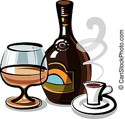illustration of bottle with cream liqueur with coffee