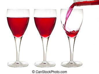 liqueur, trois, rouges, boissons
