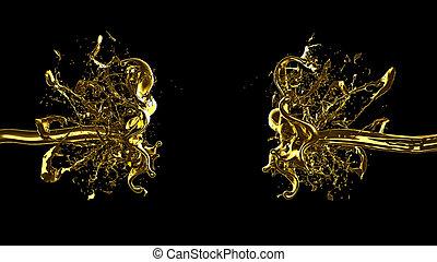 liquid., ábra, loccsanás, 3, sűrű, arany-, rendering.