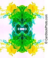 liquid., マクロ, 打撃, カラフルである, yellow-blue-green, 神秘主義者, 抽象的, インク, pattern., 雲, アクリル, 隔離された, バックグラウンド。, くるくる回る, 混合, 白い花, fog.