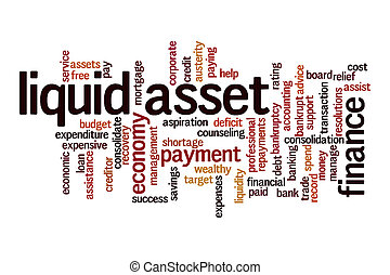 Liquid asset word cloud concept on white background
