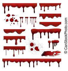 Liquid blood. Red sauces drops splashes blob blood stain vector templates collection