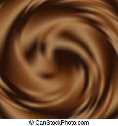 Liquid chocolate swirl background, abstract vector backdrop