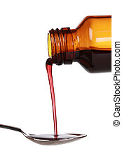 Liquid cold medicine pouring from a bottle on a spoon