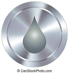 Oil or water liquid drop icon on round stainless steel modern industrial button