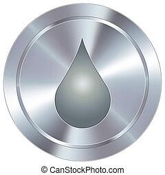 Liquid drop on industrial button - Oil or water liquid drop...