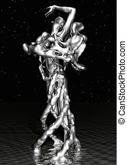 Liquid Female - 3D Illustration of a liquid Female