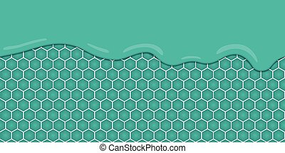 Liquid flowing seamless mint honeycomb. Vector illustration.