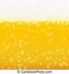 liquid., fondo., luce, schiuma, illustrazione, realistico, birra, vettore, luminoso, bolla, texture.