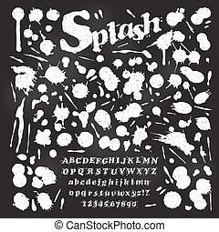 Liquid Splash Font and Numbers with set of paint blots